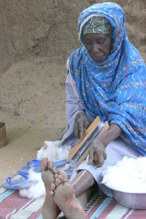Woman carding cotton in Banemba, Mali. 2008