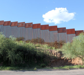 The fence to the sky: the 18' high fence between Nogales, Sonora and Nogales, AZ.