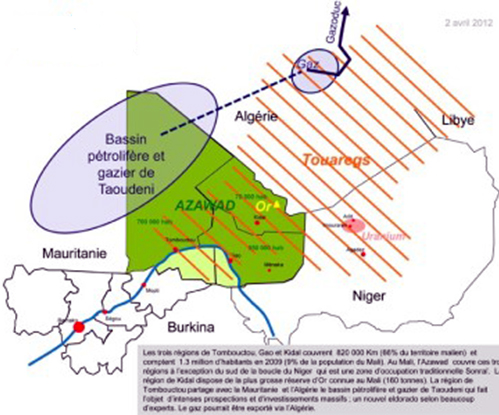 This map shows the area claimed as Azawad which is currently under MNLA and Ansar Dine control. It also show the minerals wealth in the area as well as Touareg areas. The blue line is the Niger River. It also delineates the 9 regions (states) in Mali.
